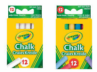 CRAYOLA NEW 12 ANTI DUST CHALK IN WHITE OR ASSORTED COLOUR CHALKS FOR BLACKBOARD