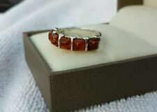 Baltic cognac amber sterling silver ring