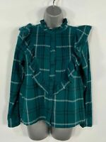 WOMENS TOPSHOP GREEN CHECK LONG SLEEVE SMART CASUAL FRILL SHIRT BLOUSE TOP UK 6