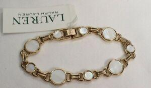 Ralph Lauren Gold Tone Mother of Pearl Bracelet $48 New