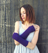 Knit Gloves Handmade Knitted Fingerless Gloves Womens Purple Arm Warmers Ladies
