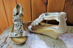 Patrizia By Spring Step Harlequin Zip Back Wedge Heel Shoes Sandals Rosette Sz 9