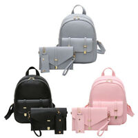 3pcs Women's Backpack PU Leather School Bag Shoulder Card Holder Purse Rucksack