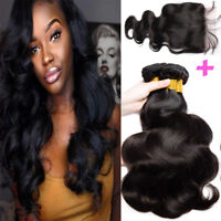 7A Swiss Lace Closure With 3 Bundles Malaysian Virgin Human Hair Thick 350g F528