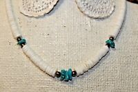 Handmade Genuine Turquoise Shell Disc Necklace Sterling Silver Clasp & Beads T1