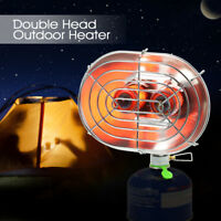 Double Head Heater Infrared Ray Outdoor Camping Warmer Heating Gas Stove K4Y3