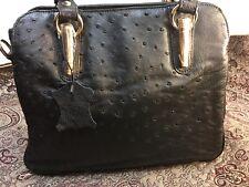 Genuine OSTRICH Vintage Leather Black color bag for women