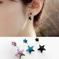 Cute Korean Women Elegant Cute Crystal Rhinestone Star Ear Stud Earrings Jewelry