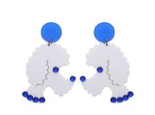 Boucles d'oreilles originales chien caniche poodle blanc strass bleu rétro pinup