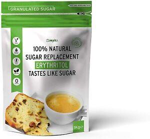 100% Natural Erythritol Sugar Replacement 1Kg (2.2 lb) Granulated Sugar - Zero