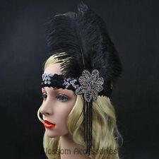 K141 Great Gatsby 20s Headpiece Flapper 1920s Costume Headband Headdress Feather