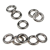 10pcs Zinc Alloy Round Spring Snap Open Hook Key Chain Carabiner 15mm + 20mm