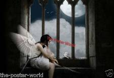 Gothic Winged Angel Chained to a Window Image Picture Poster Wall Art Print New