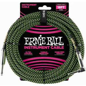 Ernie Ball 6082 - Câble gaine tissée noir et vert jack-jack coudé - 5,5m