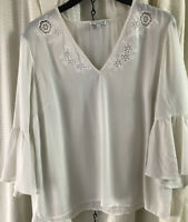 Warehouse Cream Blouse With Frilly Sleeves Sz 16