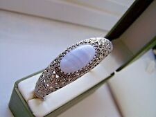 """GORGEOUS STERLING SILVER BANDED AGATE & MARCASITE BRACELET BANGLE 7 1/2"""" RARE"""