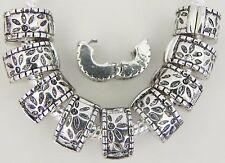 10 Lock Clip Stoppers Antique Stamped Sunburst Fits European Style Bracelets L13
