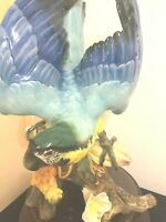 HUTSCHENREUTHER BLUE AND GOLD  MACAW PARROT PORCELAIN SCULPTURE AND BASE