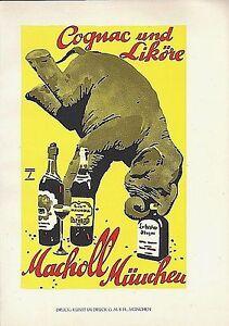 Original vintage poster print COGNAC MACHOLL ELEPHANT 1926 Hohlwein
