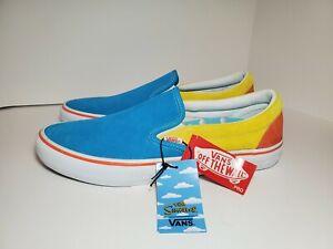 Mens Vans x The Simpsons Slip-On Pro Skate Shoes Blue/Yellow #VN0A347V13M Sz 12