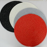 Set of 4 Round Placemats for kitchen table mats PP Woven oven Heat Insulated pad