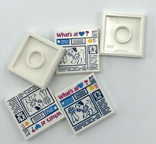 Lego 5 New White Tiles 2 x 2 Prize Ribbon Dog What's at Heart? Newspaper Pattern