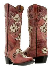 Womens Distressed Red Leather Western Cowboy Cowgirl Boots Flowers Rodeo Snip