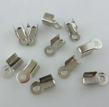 100/500/3000pcs Metal Folding End Crimps Tips Cord Cap Jewelry Findings 9x4mm
