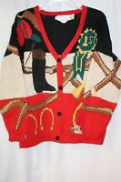 The Eagle's Eye Womens Sweater Cardigan Red Black Equestrian Horse Lover Large