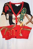 The Eagle's Eye Womens Cardigan Sweater Equestrian Wool Red Bit Bridal Large VTG