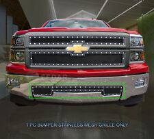 14-15 Chevy Silverado 1500 Stainless Bumper Black Rivet Wire Mesh Grille Fedar