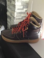 New Nike Air Force 1 High Workboot Strap Brown Leather Size 6 GS Boys Rare!