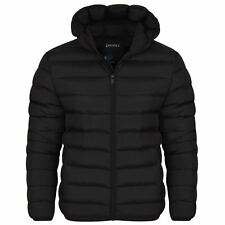 Mens Plain Black Hooded Padded Quilted Puffer Jacket Winter Coat Zip Pockets