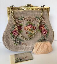 Needlepoint Handbag Beige Floral Pockets Zipper Gold Chain Change Purse Mirror