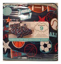 NEW! Cloud 9 Sports TWIN SIZE Comforter Set Sham,1 Pillow, Wall Decals FREE SHIP