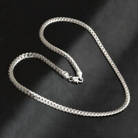 Fashion 5mm Women Men 925 Silver Plated Wide Chain Necklace Gift Length 20 Inch