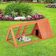 PawHut Hasenstall Hasenkäfig Kaninchenstall Kleintierstall mit Freigehege 3-Ecke