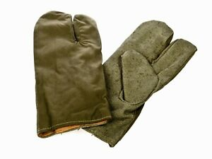New Genuine Polish Army Surplus Mittens Trigger Finger Gloves Canvas Olive Green