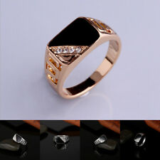 Fashion Men's Finger Ring Gold Silver Rhinestone Jewelry Accessories Couple Ring