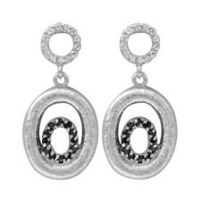 Sterling Silver Black and White Cubic Zirconia Open Oval Dangle Earrings