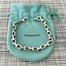 """Tiffany & Co. Silver THICK WIDE T Chain Link 8.25"""" Bracelet BOX POUCH!"""
