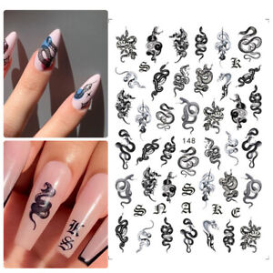 Chinese Self Adhesive Slider Nail Stickers Dragon Snake Gothic Style 3D Black