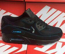 Nike AIR MAX 90 Black & sky blue kids trainers UK Size 4-5-6-7 BRAND NEW