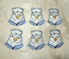 VINTAGE LOT OF 6 EMBROIDERED IRON ON SAILOR EAGLE HEAD / NOS