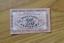 BANCA ITALIANA AGRICOLA COMMERCIALE BOLOGNA BUONO DI CASSA 25 CENT 1867