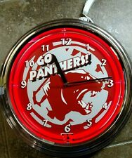 High School GO PANTHERS Red & White neon Panther mascot clock  Free Fast Ship
