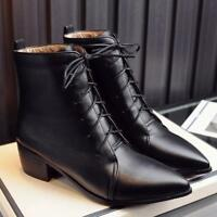Womens Block Heels Pointed Toe Lace up Ankle Boots Chelsea Shoes OL British New