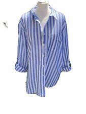 Ladies Blue White Strped Long Shirt UK Size 20 NWOT