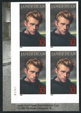 """#3082a """"JAMES DEAN"""" PLATE NO. BLOCK OF 4 WITH IMPERF MAJOR ERROR BT9693"""