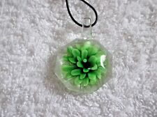 Pretty Clear & GREEN GLASS FLOWER Adjustable Octagon NECKLACE A